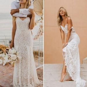 Lulu's   Flynn White Lace Maxi Wedding Dress Gown